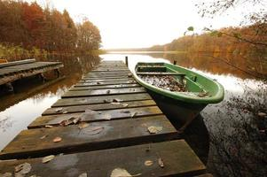 Boat on wooden jetty at lake photo