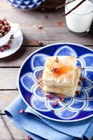 Greek phyllo pastry pie with rose custard