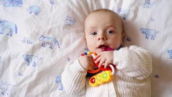 criança colocando um brinquedo na boca.