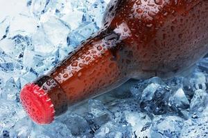 botellas en hielo foto