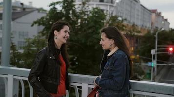 dos hermosas chicas mejores amigas de pie en el puente de la ciudad, hablando, sonriendo, riendo. cámara lenta. tiro de stedicam video