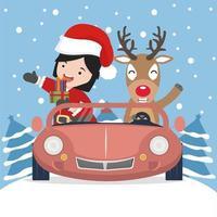 niña con gorro de Papá Noel y un reno en un coche vector