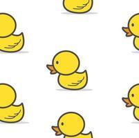 Seamless Pattern of Cute Yellow Ducks vector