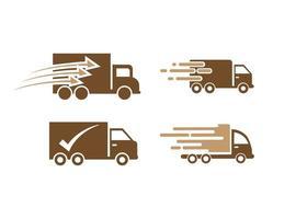 Plantilla de diseño de icono de camión de entrega rápida vector