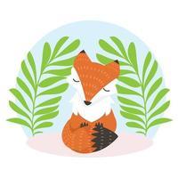 Cute Fox Resting Between Nature Leaves vector