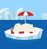 oso polar relajante en un témpano de hielo de vacaciones vector