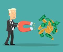 El empresario usa un gran imán para agarrar dinero.