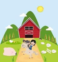 Girl riding a horse on a cute farm vector
