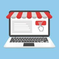 Online shopping laptop with business storefront
