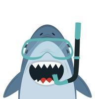 tiburón feliz con gafas y un snorkel vector