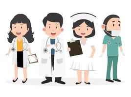 Set of happy medical doctors and nurses vector