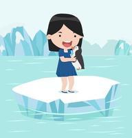 niña sosteniendo un pingüino en un témpano de hielo ártico