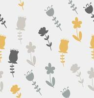 Seamless pattern of yellow and gray flowers