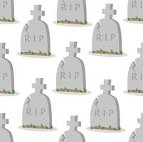 Seamless Pattern of Damaged Old Tombstones
