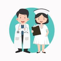Happy medical doctor and nurse vector