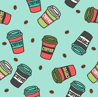 patrón sin fisuras de coloridas tazas de café vector