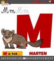 Letra m con animal de marta de dibujos animados vector