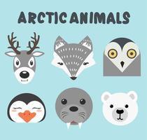 colección de animales árticos, incluidos ciervos, zorros y búhos vector