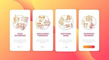 Quarantine housework onboarding mobile app vector