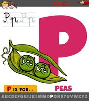 Letter P from alphabet with peas characters
