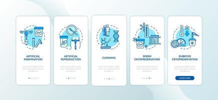 Artificial reproduction onboarding mobile app vector