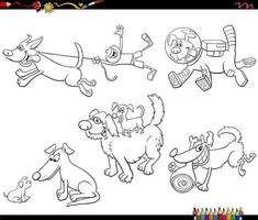 Cartoon dogs animal characters set coloring book page vector