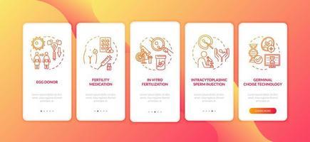 pantalla de la página de la aplicación móvil de incorporación de fertilización