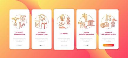 pantalla de la página de la aplicación móvil de incorporación de tecnología reproductiva vector