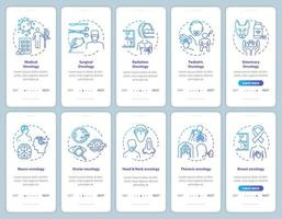 Oncology onboarding mobile app page screen vector