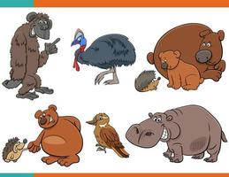 Cartoon funny animal characters set vector