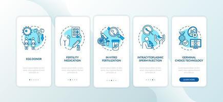 pantalla de la página de la aplicación móvil de incorporación de medicamentos para la fertilidad vector