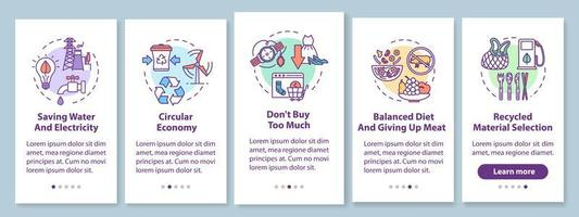 Responsible consumption onboarding mobile app page screen vector
