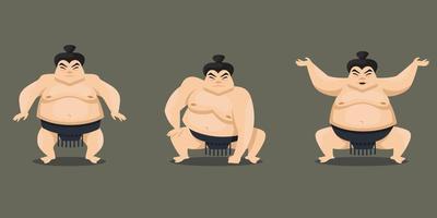 Sumo wrestler in different poses