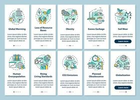 Overconsumption onboarding mobile app page screen vector