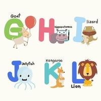 Alphabet letters from G to L with cute animals vector