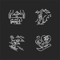 viajes de vacaciones tiza conjunto de iconos blancos
