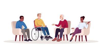 sesión de psicoterapia grupal vector