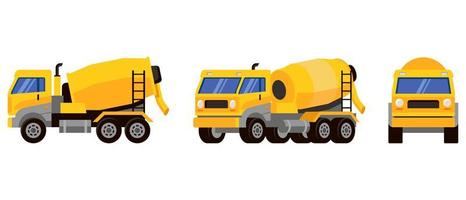 Concrete mixer truck in different angles