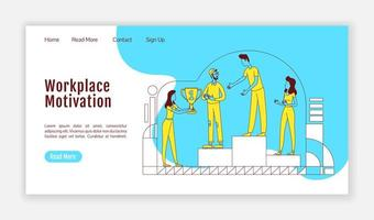 Workplace motivation landing page vector
