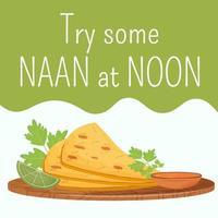 publicación de redes sociales de pan plano indio vector