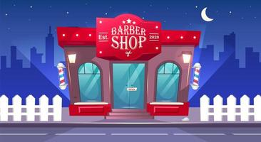 Barber Shop front at night vector