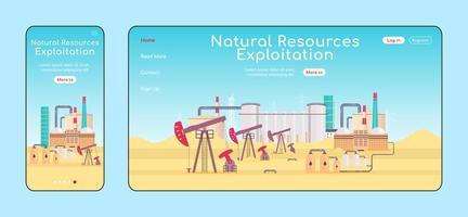 Natural resources exploitation adaptive landing page vector