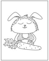 Coloring page with Cute rabbit in doodle style vector