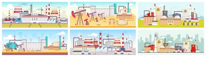 Industrial sites design set vector