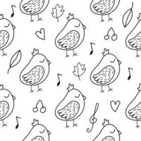 Seamless pattern with Little bird in doodle style vector