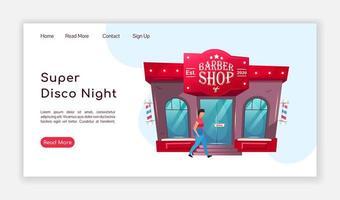 Super disco night landing page vector