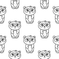 Panda seamless pattern in doodle style vector