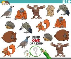 One of a kind with wild animals vector