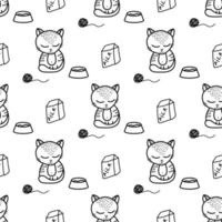 Cute cat seamless pattern in doodle style vector