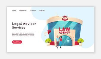 Legal advisor services landing page vector